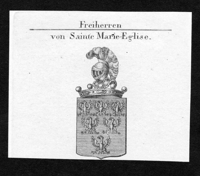 Sainte-Mère-Église Marie Frankreich Wappen coat of arms Kupferstich engraving