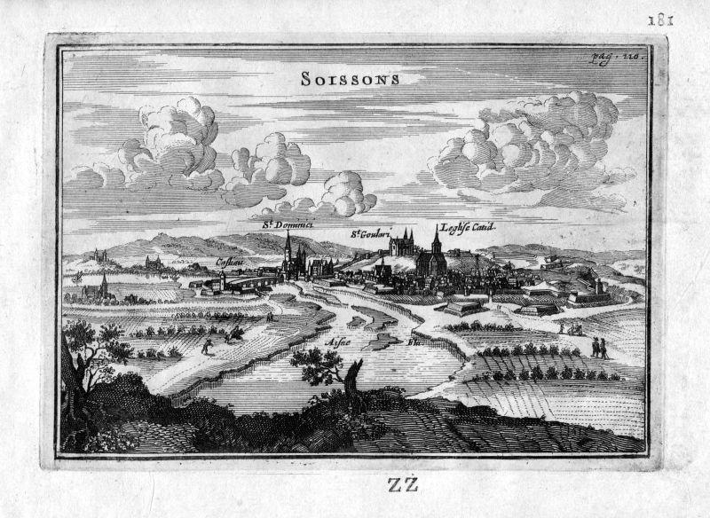 1666 Soissons Aisne vue Frankreich France gravure estampe Kupferstich