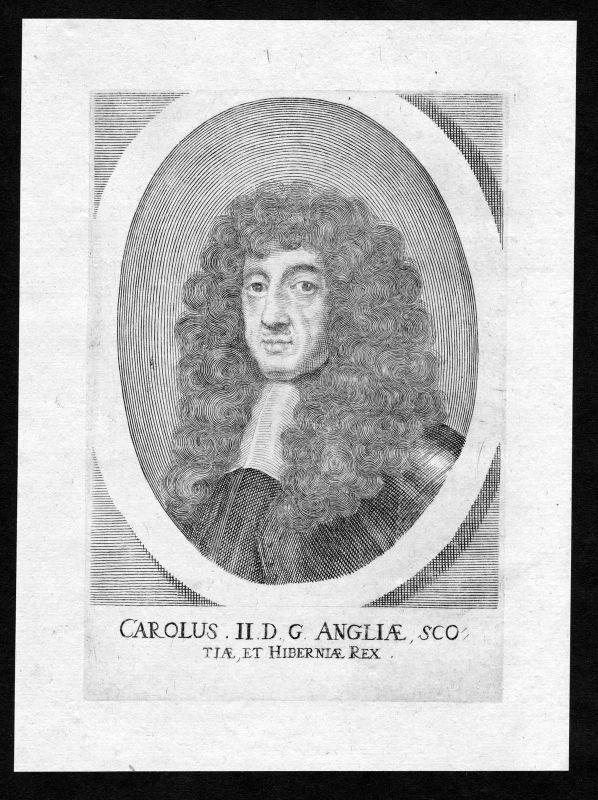 1690 Charles II of England Scotland Ireland Portrait Kupferstich antique print