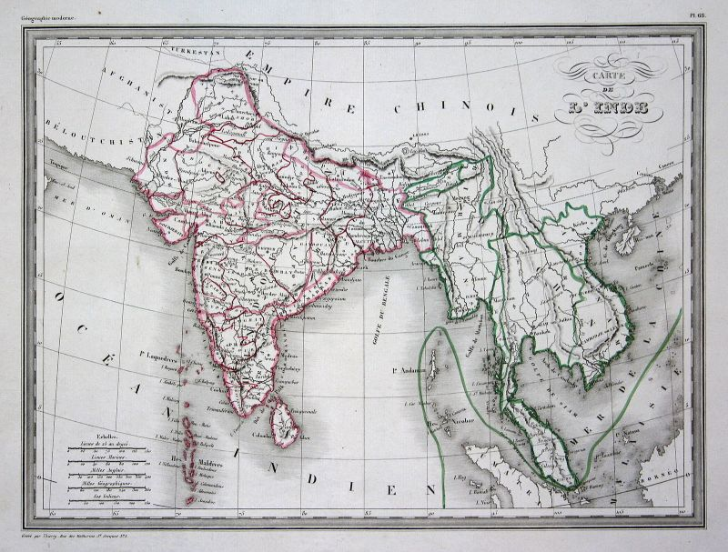 1837 Indien India Inde Asia Asien Hindustan Malaysia Malaisie map Karte carte