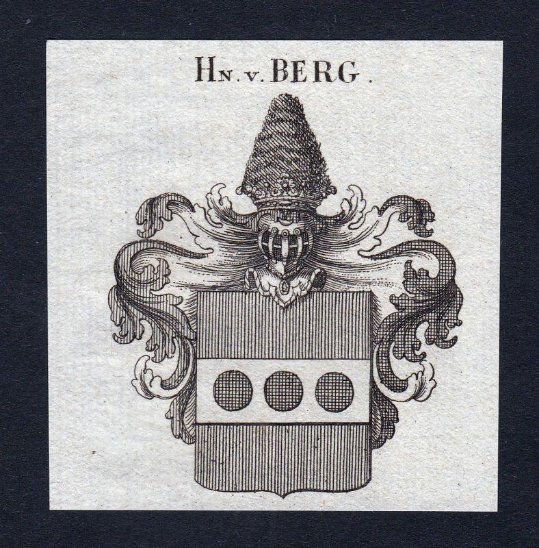 1820 Berg Brandenburg Wappen Adel coat of arms Heraldik Kupferstich engraving