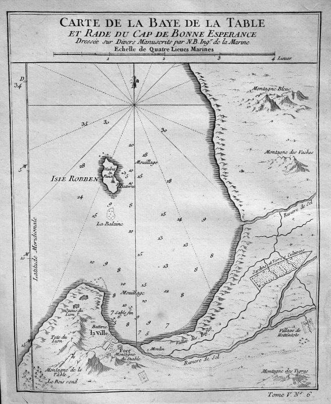 1750 Cape of Good Hope South Africa Karte map Kupferstich antique print Bellin