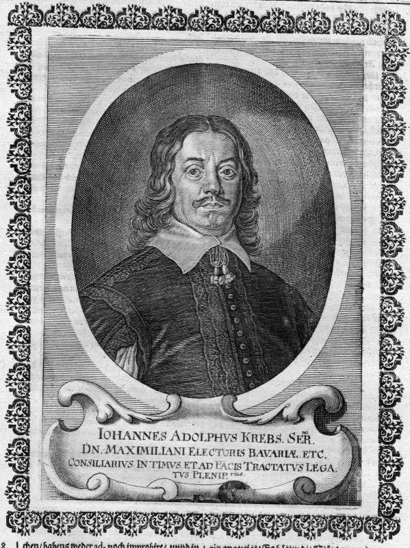 17. Jh. Johannes Adolf Krebs Bayern Jurist Portrait Kupferstich antique print