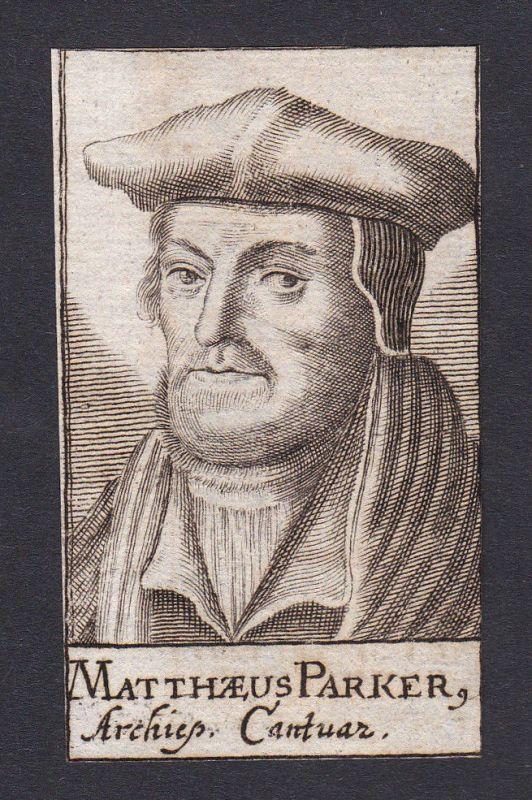 17. Jh. - Matthew Parker / bishop Bischof Canterbury Portrait Kupferstich