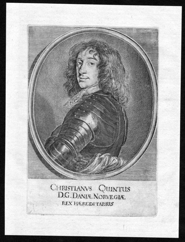 1690 Christian 5 Danmark Norge Norway Denmark Portrait Kupferstich antique print