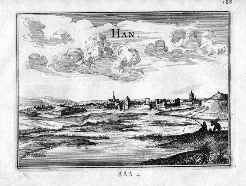 1666 Han-sur-Meuse vue Frankreich France gravure estampe Kupferstich