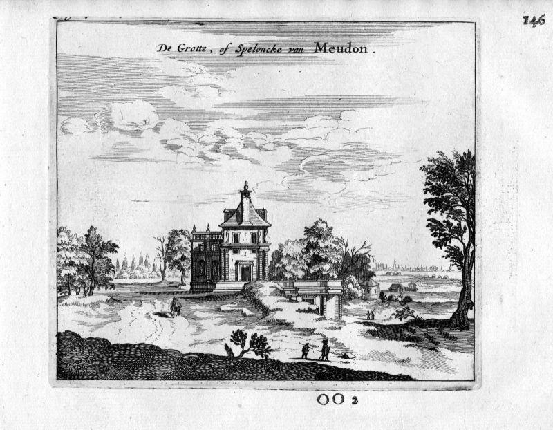 1666 - Meudon Grotte Paris Frankreich France gravure estampe Kupferstich