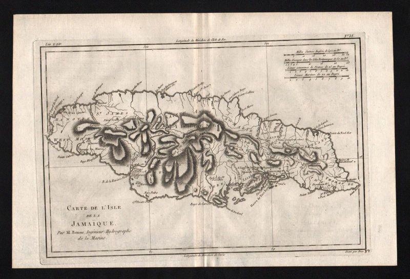 1780 - Jamaica island America Jamaika map Karte Kupferstich engraving