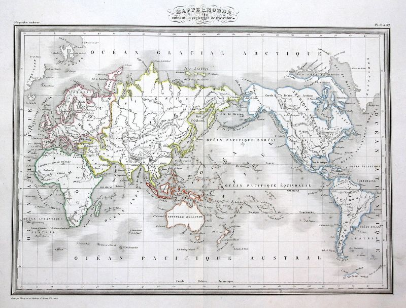 Karte Europa Asien.1837 Mercator Asien Europa Europe Asia Asie Amerika America Map Karte Carte