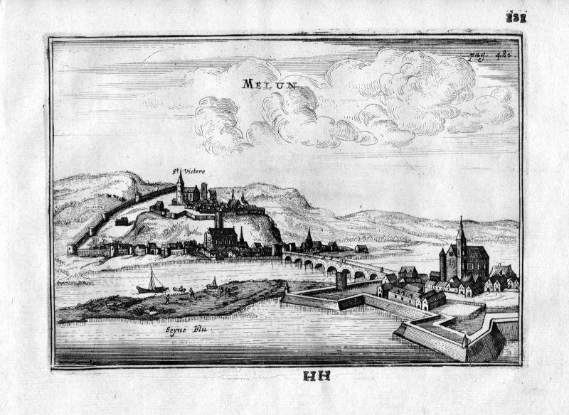 1666 Melun Seine-et-Marne Frankreich France gravure estampe Kupferstich