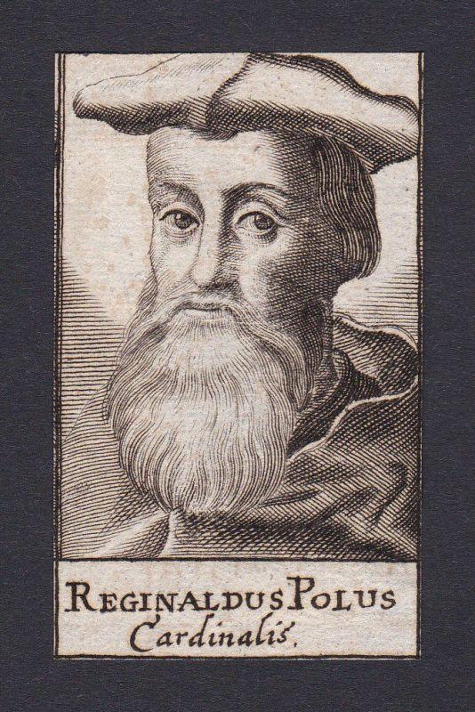 17. Jh. - Reginal Pole cardinal bishop Kardinal Canterbury Portrait Kupferstich