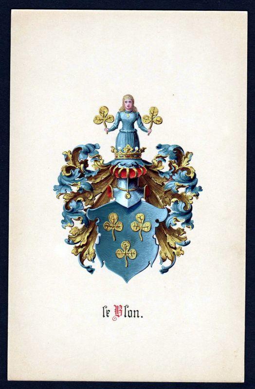 19. Jh. de Blon Wappen coat of arms Heraldik heraldry Manuskript manuscript