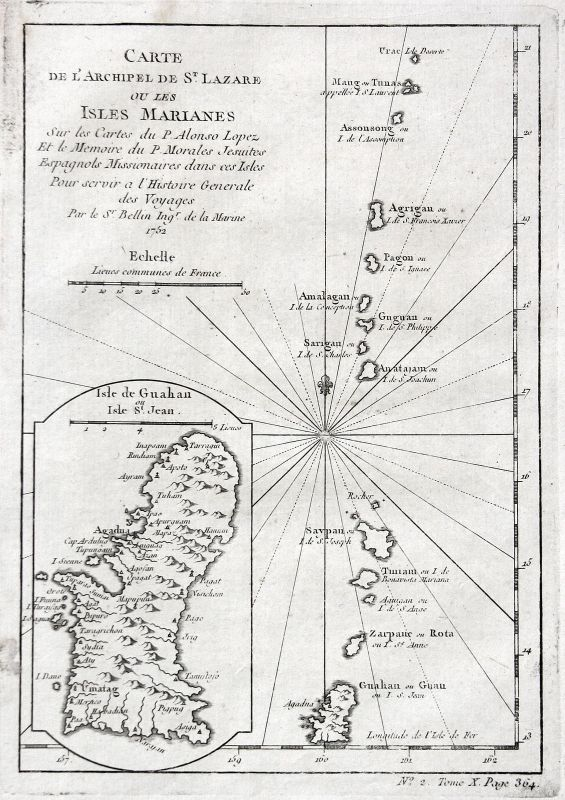 1752 Marianen Guam Mariana Islands Tinian map Karte Kupferstich engraving Bellin