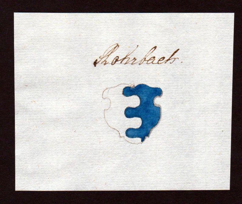 18. Jh. Rohrbach Handschrift Manuskript Wappen manuscript coat of arms