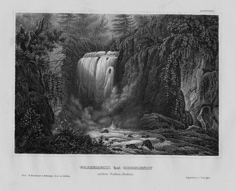 1840 - Geroldsau Wasserfall Baden-Baden Baden-Württemberg Original Stahlstich