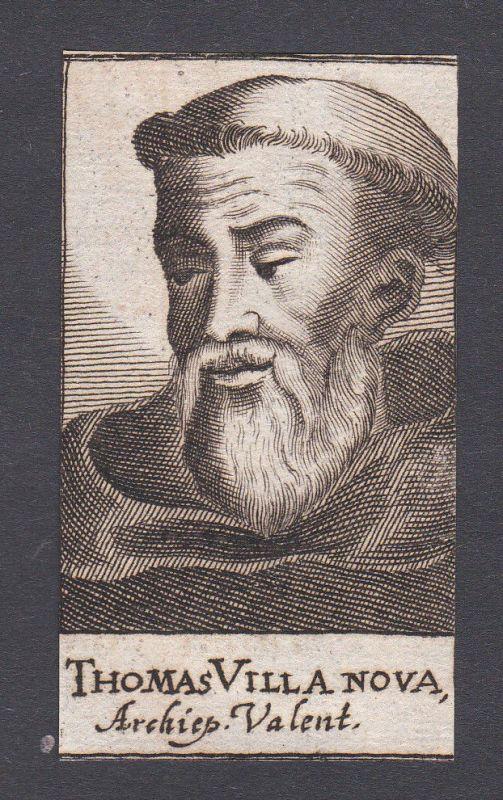 17. Jh. - Thomas of Villanova / cardinal Kardinal Valencia Portrait Kupferstich