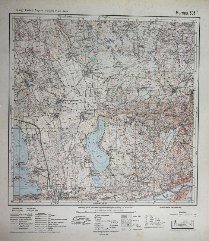 1940 Murnau Habach Aidling Riegsee Obersöchering Spatzenhausen 1:25000 Karte