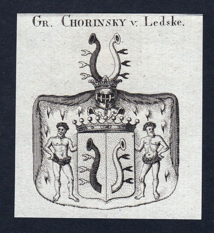 Ca. 1820 Chorinsky Ledske Wappen Adel coat of arms Kupferstich antique print