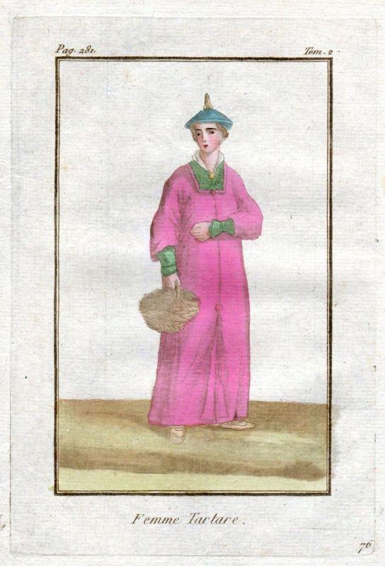 1780 Tatarei Tartary Tatars Tataren costume Trachten Kupferstich antique print