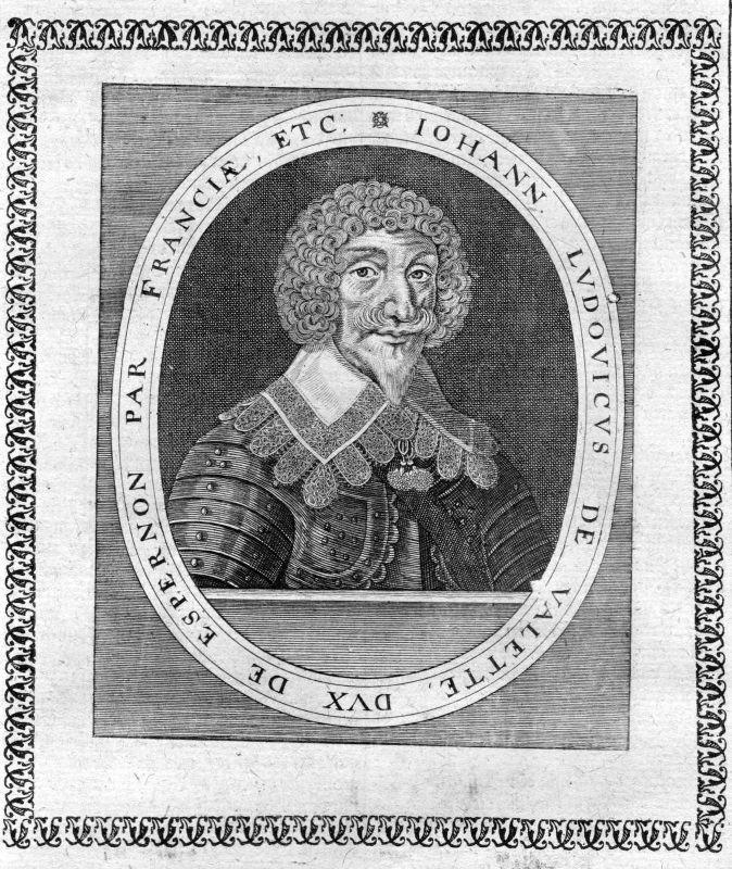 Ca. 1650 Jean Louis de Nogaret de La Valette Portrait Kupferstich antique print