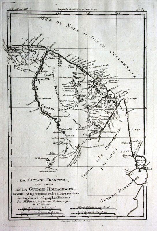 1780 French Guiana Französisch-Guayana Kupferstich Karte map engraving Benno