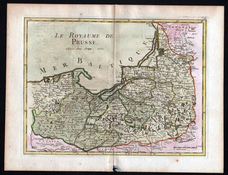 1757 Preussen Polska Lithuania Russia map Kupferstich antique print Le Rouge