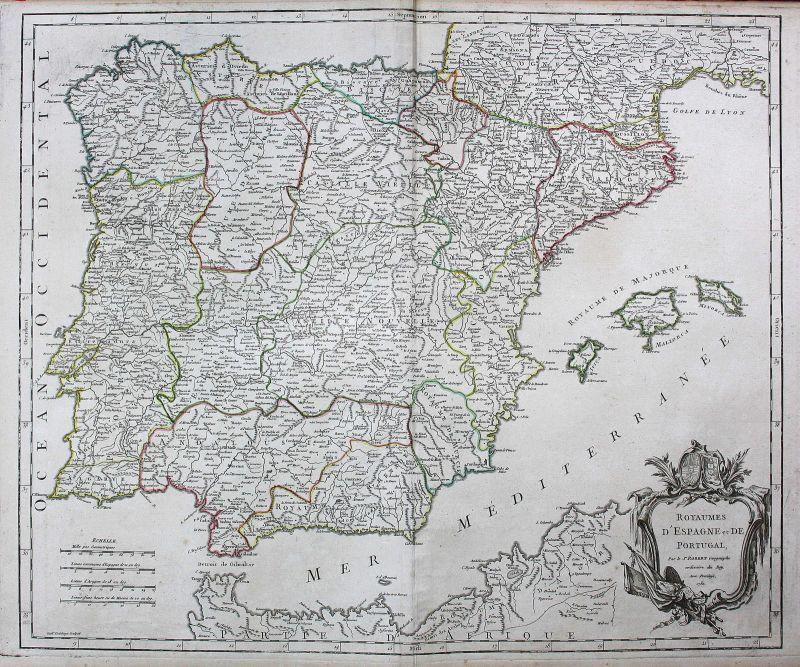 Portugal Portuguesa Spanien Espana Spain Karte map Kupferstich antique print