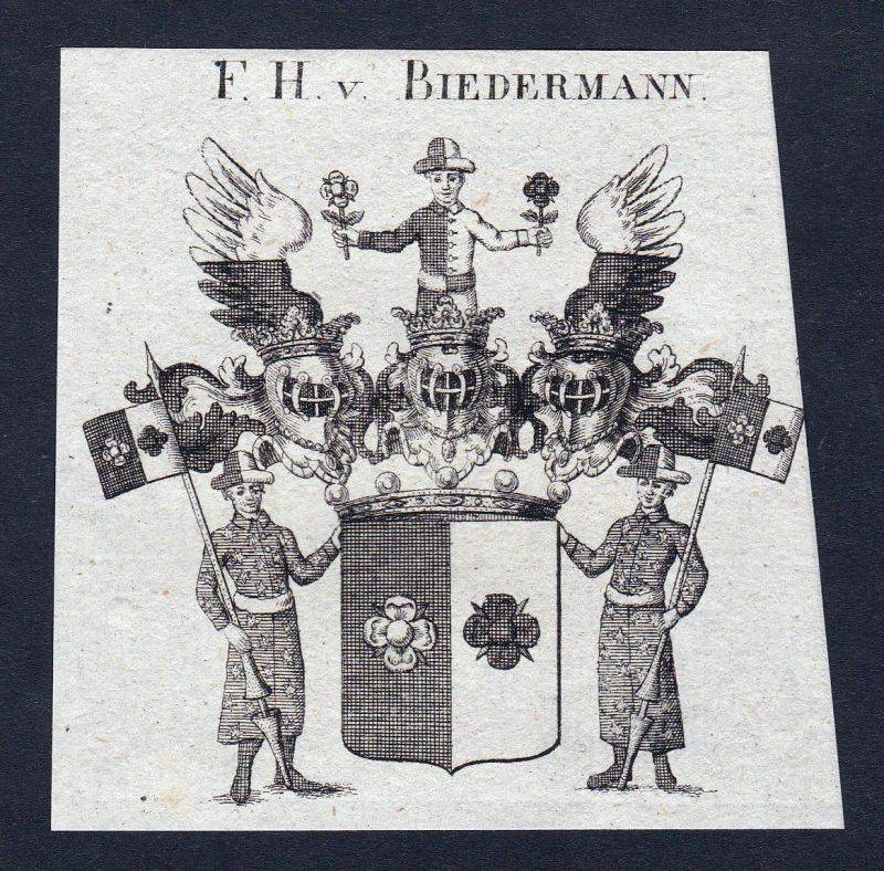 Ca. 1820 Biedermann Wappen Adel coat of arms Kupferstich antique print he 144756