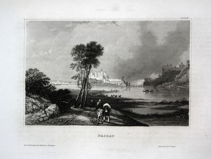 Passau Bayern Bavaria Deutschland Ansicht view Stahlstich antique print ca. 1850