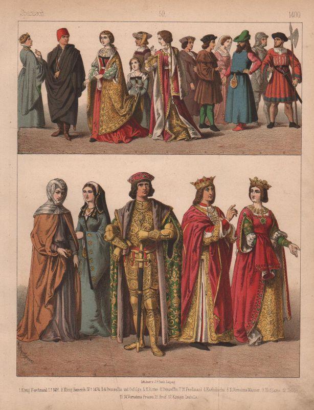 1880 Spanien Spain Trachten Kostüme costumes Tracht Mittelalter Leipzig