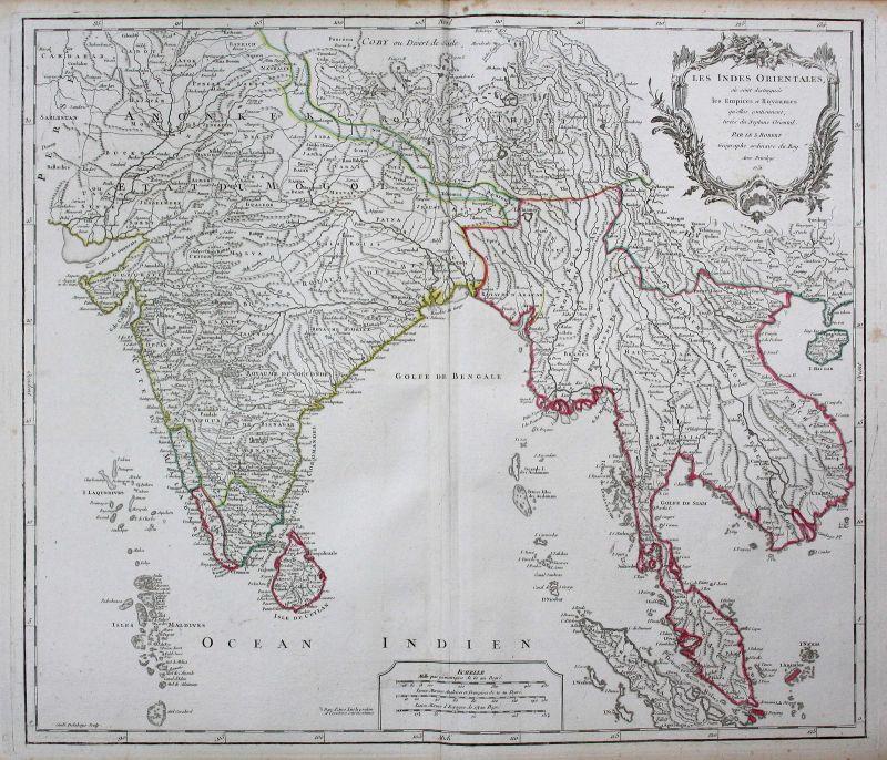 Indien India Sri Lanka Asien Asia Thailand Karte map Kupferstich antique print