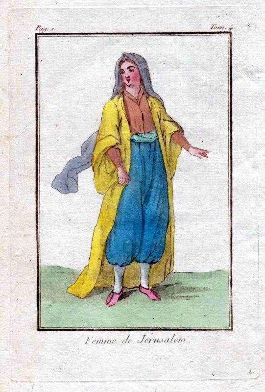 1780 Jerusalem Israel Palestina costume Trachten Kupferstich antique print