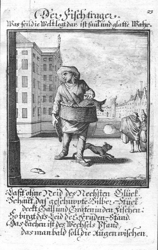 1700 Fisch Fischer fish fisher Beruf profession Weigel Kupferstich antique print