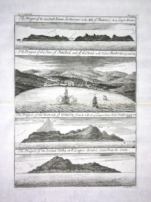 1730 - Churchill Madeira island Funchal Portugal Kupferstich engraving map Karte