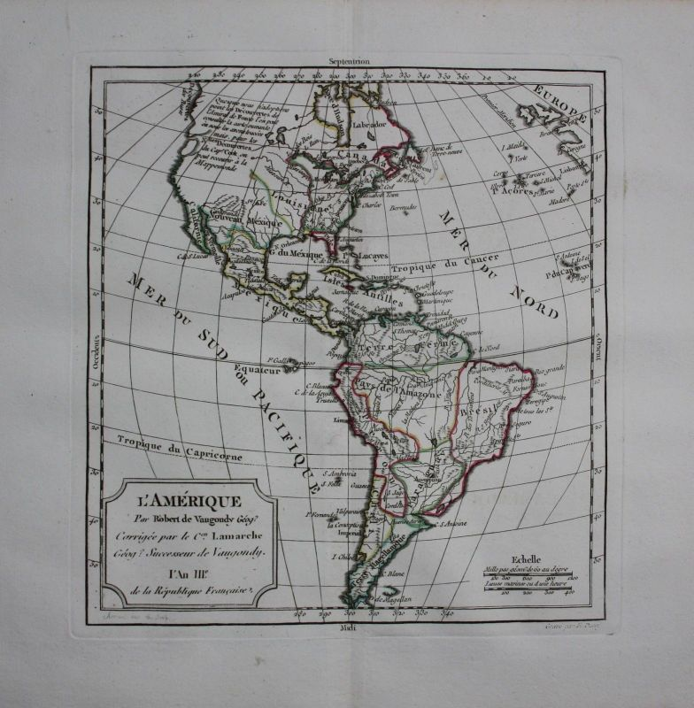 1790 - America continent Kontinent North South engraving Karte map Vaugondy