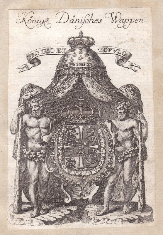 Dänemark Denmark Danmark Adel Wappen coat of arms Kupferstich antique print