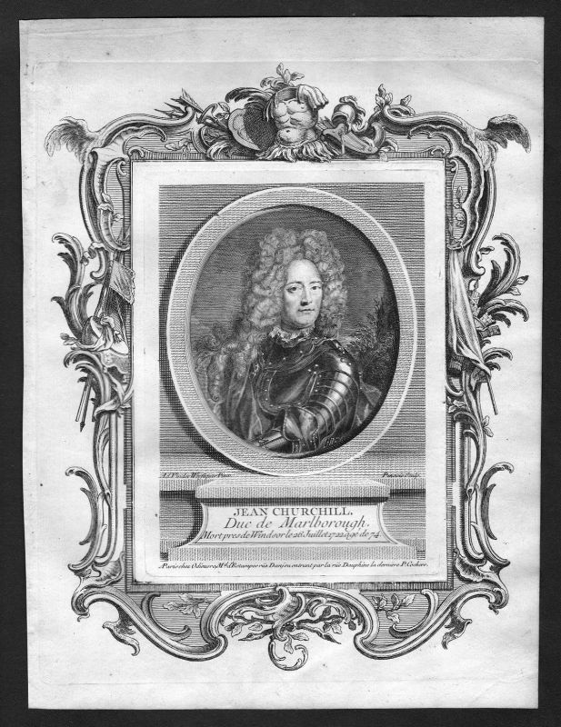 Ca. 1690 John Churchill Duke of Marlborough Portrait Kupferstich antique print