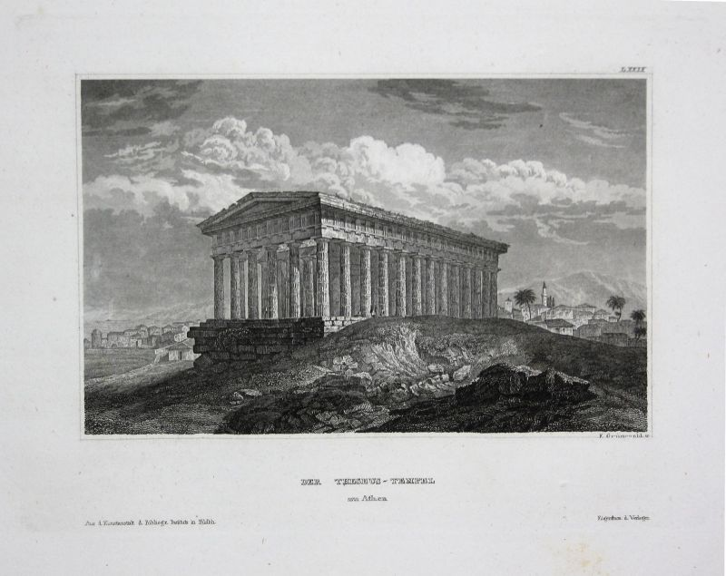 Tempel Hephaistos temple Hephaestus Athens Athen Ansicht view Stahlstich 1850