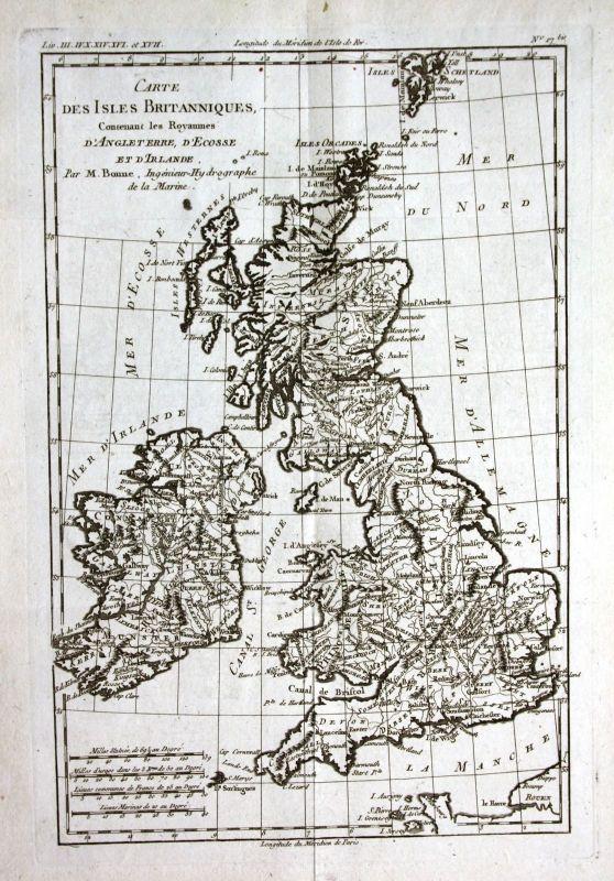 Ca. 1780 Great Britain England Scotland Ireland Kupferstich map engraving Bonne
