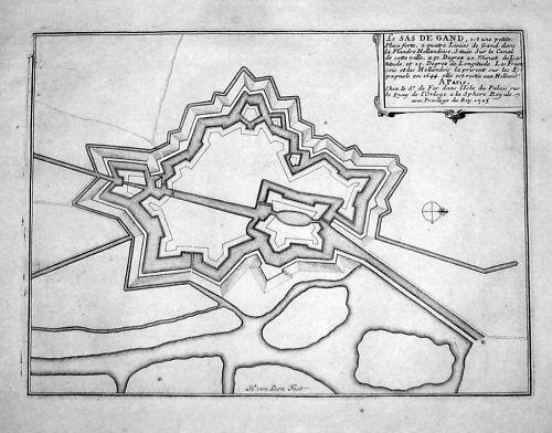 1700 - Sas van Gent Nederland Holland Map gravure Karte carte