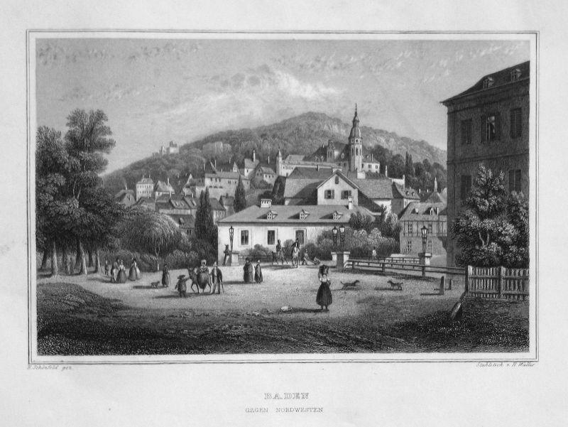 1840 Baden Baden-Württemberg gravure Stahlstich engraving Schönfeld Wallis
