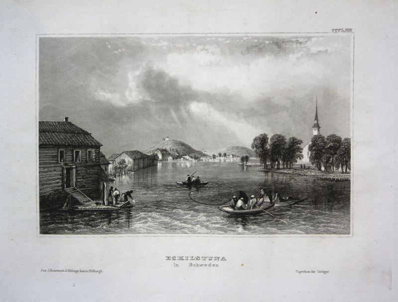 Eskilstuna Schweden Sweden Sverige Ansicht view Stahlstich antique print 1850