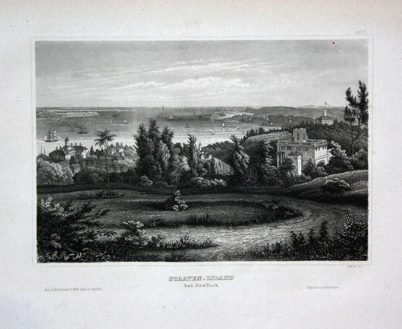Staten Island Insel New York USA Amerika Ansicht view Stahlstich antique print
