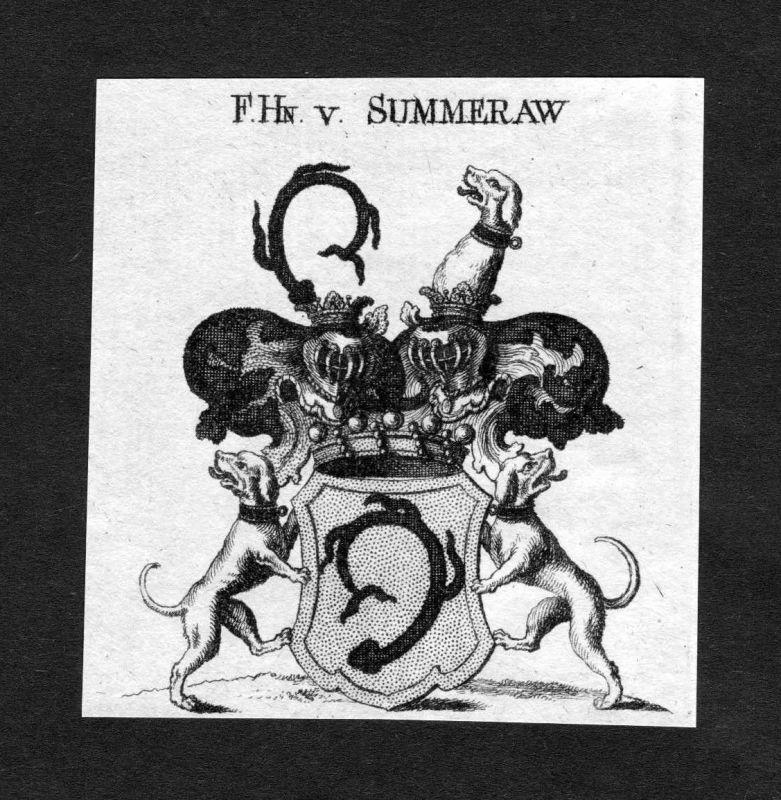 1820 - Summeraw Wappen Wappen Adel coat of arms heraldry Heraldik Kupferstich