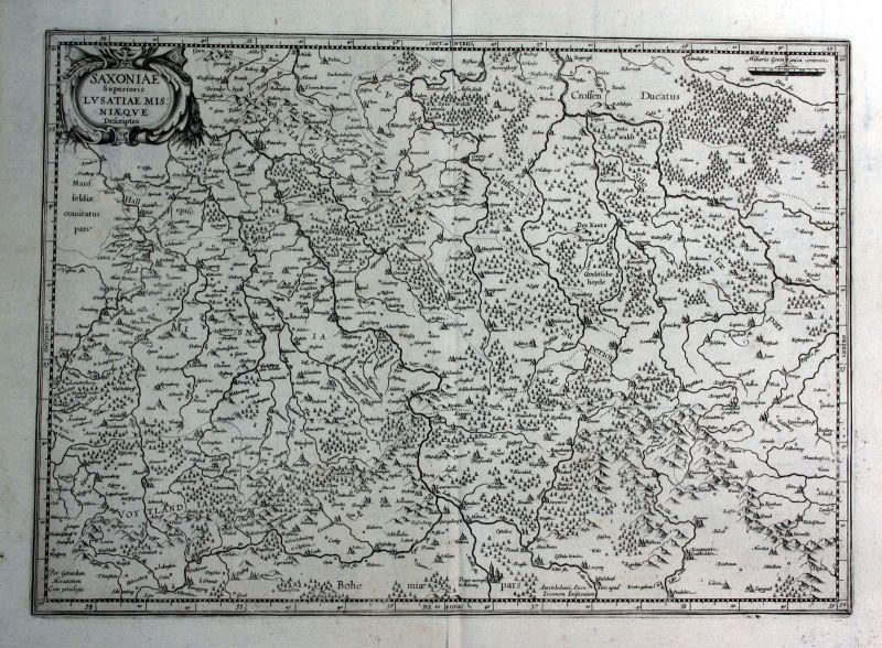 1627 Sachsen Lausitz Meissen Karte map Kupferstich antique print Hondius 144871