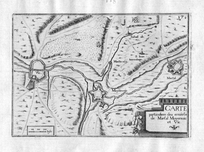 Ca. 1630 Marsal Vic-sur-Seille Moyenvic Moselle France Frankreich gravure Tassin