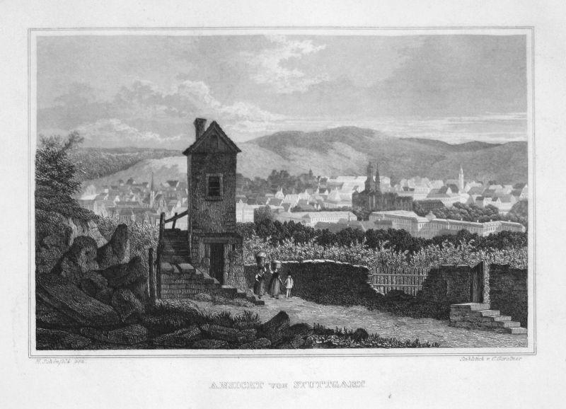 1840 Stuttgart Baden-Württemberg gravure Stahlstich engraving Schönfeld Gerstner