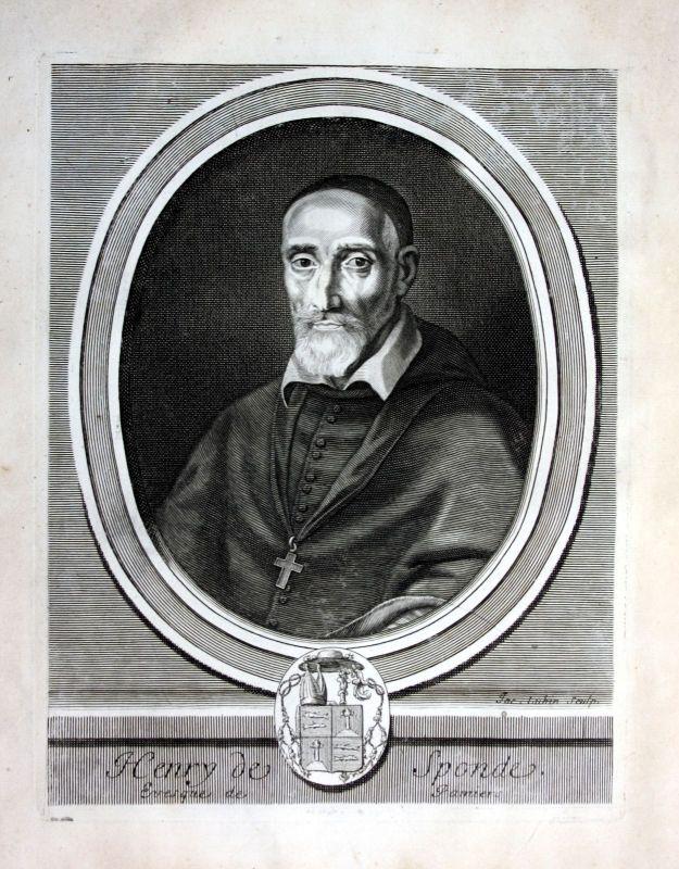 Ca. 1700 - Henri de Sponde Jurist lawyer avocat Portrait Kupferstich engraving