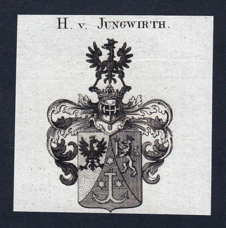 Ca. 1820 Jungwirth Wappen Adel coat of arms Kupferstich antique print her 144744