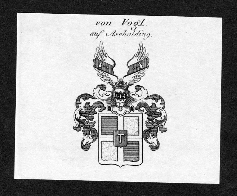 Ca. 1820 Vogl Ascholding Wappen Adel coat of arms Kupferstich antique print